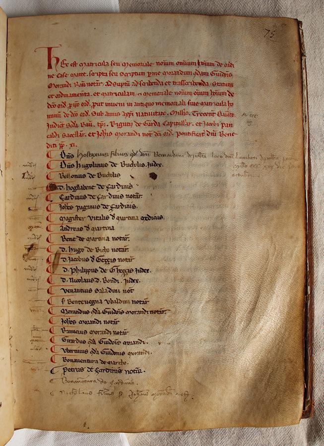 Particolare libro soci ove compare il nome di Ser Pietro Giardini amico di Dante Alighieri